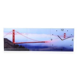 Home Designs: Golden Gate Bridge Pattern Three Piece Wall Clock (Size 90x30x4 Cm)
