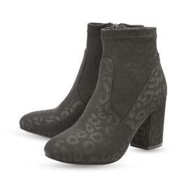 Ravel Black Stebbins Leopard-Print Heeled Ankle Boots