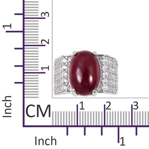Very Rare Size African Ruby (Ovl 15x10mm, 11 Cts), Natural Cambodian Zircon Ring in Rhodium Overlay Sterling Silver 13.250 Ct.