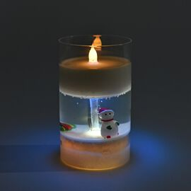 Simulation Glass Cup Candle Displayed Snowman - White, Green and Red (3xAAA Batteries not Included)