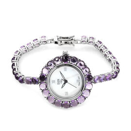 EON 1962 Amethyst (25.25 Ct) Bracelet Watch (Size 7) in Platinum Overlay Sterling Silver, Silver wt