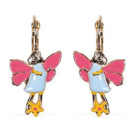 Lever Back Enamelled Fairy Theme Earrings in Gold Tone