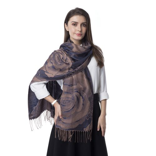 Designer Inspired- Navy Colour Subshrubby Peony Flower Pattern Scarf (Size 190X68 Cm)