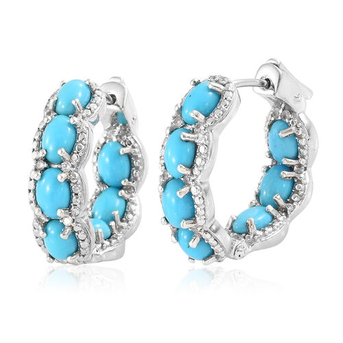 Arizona Sleeping Beauty Turquoise (Ovl), Natural White Cambodian Zircon Hoop Earrings (with Clasp Lo