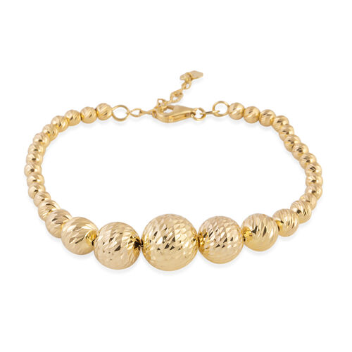 Close Out Deal- 9K Yellow Gold Diamond Cut Graduated Beads Bracelet (Size 7 with 1 Inch Extender), Gold wt 6.70 Gms