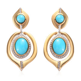 2.50 Ct Arizona Sleeping Beauty Turquoise Earrings in Gold Plated Sterling Silver