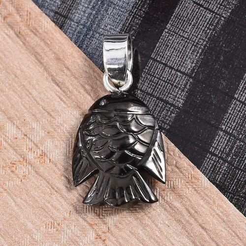 Shungite Fish Pendant in Sterling Silver 6.15 Ct.