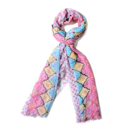 New Season-Off White, Pink and Multi Colour Small Flower Pattern Scarf (Size 180x90 Cm)