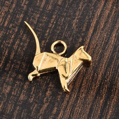 14K Gold Overlay Sterling Silver Origami Cat Silver Charm, Silver wt 3.50 Gms.