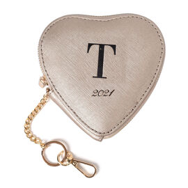 100% Genuine Leather T Initial Heart Shape Coin Card / Purse with Key Chain in Gold Colour (Size 12x