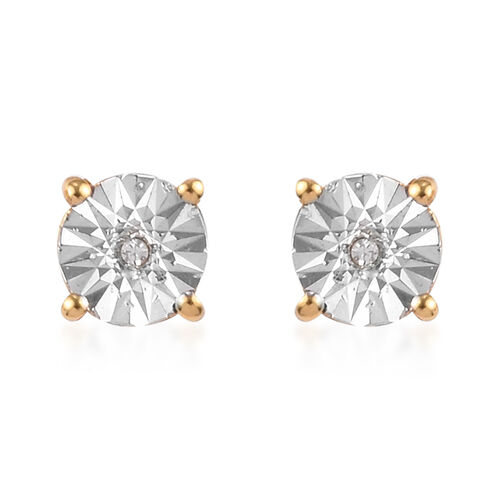 2 Piece Set -  White Diamond Solitaire Pendant and Stud Earrings (with Push Back) in 14K Gold Overlay Sterling Silver