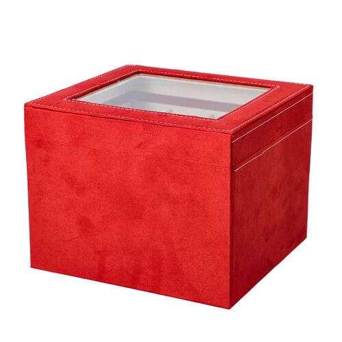 Red Colour Velvet 2 Layer Watch Box (Size 20x20x16.5 Cm)