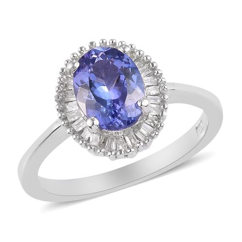 Tanzanite and Diamond Ring in Platinum Overlay Sterling Silver 1.40 Ct.