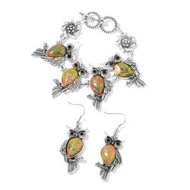 2 Piece Set 75 Carat Unakite and Black Austrian Crystal Owl Bracelet and Hook Earrings 7.5 Inch
