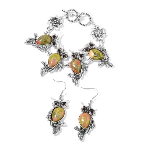 2 Piece Set 75 Carat Unakite and Black Austrian Crystal Owl Bracelet and Hook Earrings 7.5 Inch