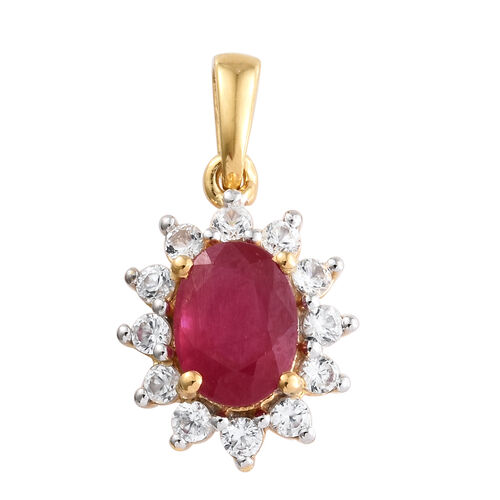 Designer Inspired- African Ruby (Ovl 1.85 Ct), Natural White Cambodian Zircon Pendant in 14K Gold Overlay Sterling Silver 2.500 Ct.