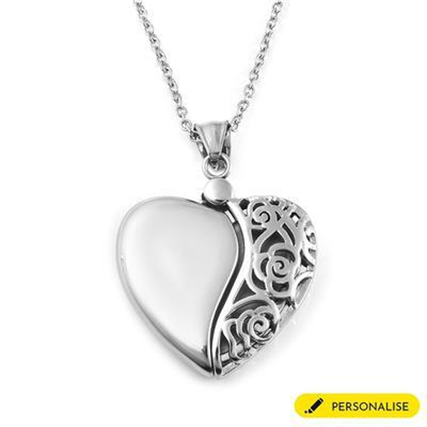 """Personalised Engravable Filigree Heart Necklace, in Silver Tone, Size 20"""""""