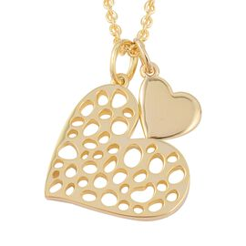 RACHEL GALLEY Yellow Gold Overlay Sterling Silver Heart Pendant With Chain (Size 30), Silver wt 11.4