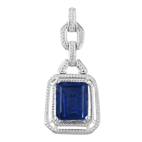 Ceylon Colour Quartz (Oct 12x10 mm) Pendant  in Sterling Silver 7.000 Ct