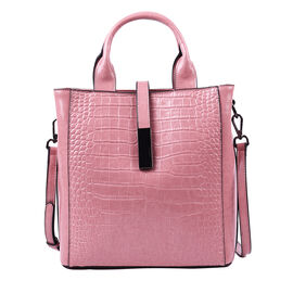 Sencillez Croc Embossed 100% Genuine Leather Convertible Bag in Pink