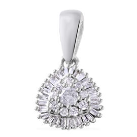 9K White Gold SGL Certified Diamond (Rnd and Bgt) (I3/G-H) Cluster Pendant 0.250 Ct.