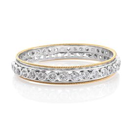 J Francis - Platinum and Yellow Gold Overlay Sterling Silver (Rnd) SPINNER Bangle (Size 7.5) Made wi