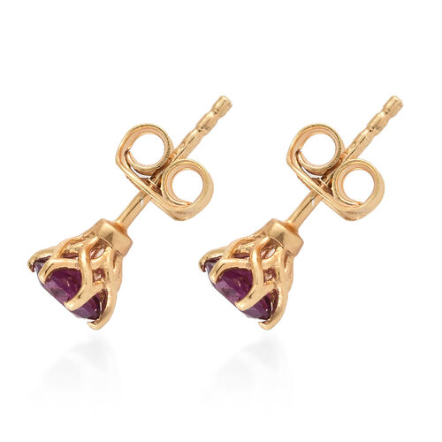 Purple Garnet (Rnd) Stud Earrings (with Push Back) in 14K Gold Overlay Sterling Silver
