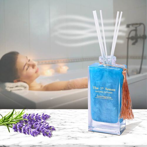 The 5th Season - 150ml Reed Diffuser Air Freshener in Gift Box with Artificial Flower - Blue (Beautiful Love Fragrance)