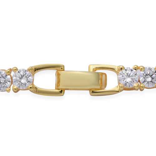ELANZA Swiss Star Cut Cubic Zirconia (Rnd) Bracelet (Size 7.5) in Yellow Gold Overlay Sterling Silver, Silver wt 10.50 Gms