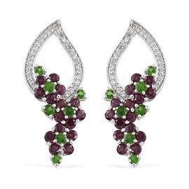 Rhodolite Garnet (Rnd), Russian Diopside, Natural Cambodian Zircon Earrings in Platinum Overlay Ster