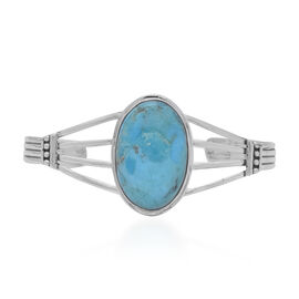Santa Fe Collection - Turquoise Bracelet in Rhodium Overlay Sterling Silver 7.00 Ct, Silver wt. 16.9
