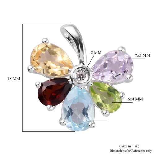 Sky Blue Topaz, Hebei Peridot and Multi Gemstone Floral Pendant in Sterling Silver 2.34 Ct.