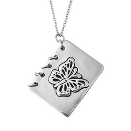 Butterfly Engraved Book Pendant with Chain in Stainless Steel