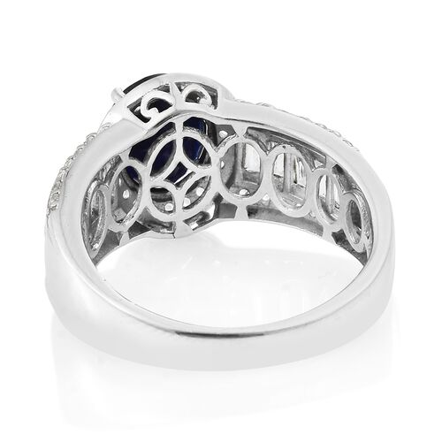 Rare Size Masoala Sapphire (Ovl 10x8mm), White Topaz Ring in Platinum Overlay Sterling Silver 6.000 Ct.