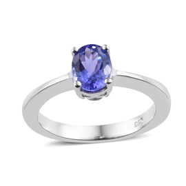 Signature Collection Premium Size Tanzanite (Ovl 7.5x5.5 mm) Solitaire Ring (Size O) in Platinum Overlay Ster