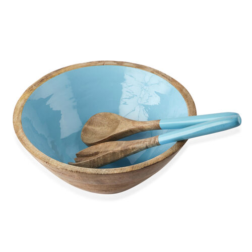 Set of 7 Pcs. - Food Serving Set in Mango Wood with Turquoise Enamel Interior- 1 Large Bowl, 4 Small Bowls, Spoon and Fork