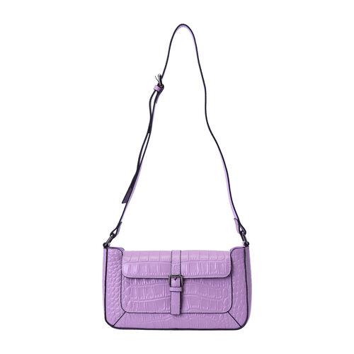 100% Genuine Leather Crocodile-Embossed Pattern Hobo Bag (28x5x16cm) with Adjustable Shoulder Strap