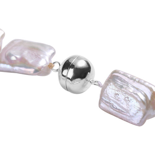 White Baroque Pearl Necklace (Size 20) with Magnetic Lock in Rhodium Overlay Sterling Silver