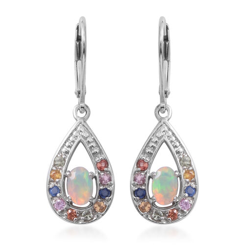 Ethiopian Welo Opal (Ovl), Multi Sapphire Earrings (With Lever Back) in Rhodium Overlay Sterling Sil