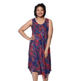 JOVIE Navy and Red Printed Sleeveless Dress (Size up to 20)