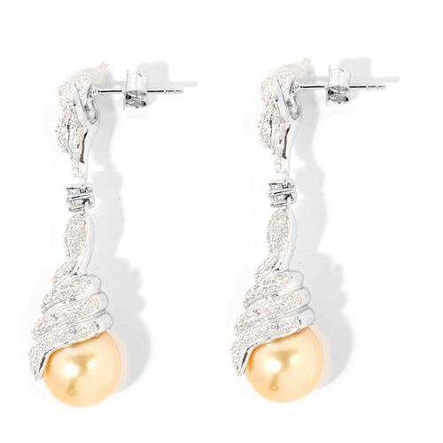 South Sea Golden Pearl (Rnd 10-11 mm), Natural White Cambodian Zircon Earrings ( With Push Back) in Rhodium Overlay Sterling Silver, Silver wt 8.70 Gms.