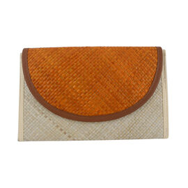 Bali Collection Palm Leaf Woven Clutch Handbags (Size:57x35x25Cm) - Orange and White