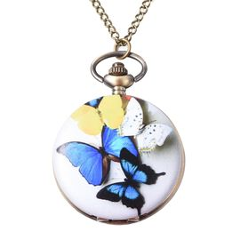 STRADA Japanese Movement Multi Butterfly Pattern Water Resistant Pocket Watch with Chain (Size 31) i