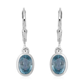 2.68 Ct Blue Zircon Solitaire Drop Earrings in Rhodium Plated Silver