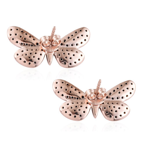 Boi Ploi Black Spinel (Rnd) Butterfly Earrings (with Push Back) in Rose Gold and Black Overlay Sterling Silver 0.750 Ct.