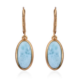 Larimar (Ovl 14x7 mm) Lever Back Earrings in 14K Gold Overlay Sterling Silver 7.000 Ct.