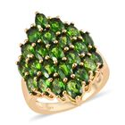 Russian Diopside (Ovl 5x3 mm) Cluster Ring (Size N) in 14K Gold Overlay Sterling Silver 6.250 Ct. Silver Wt.