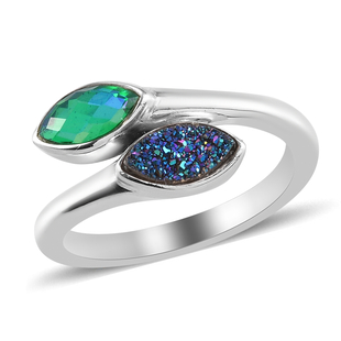 Sajen Silver ILLUMINATION Collection - Drusy Forest and Doublet Quartz Hollow  Ring in Rhodium Overl