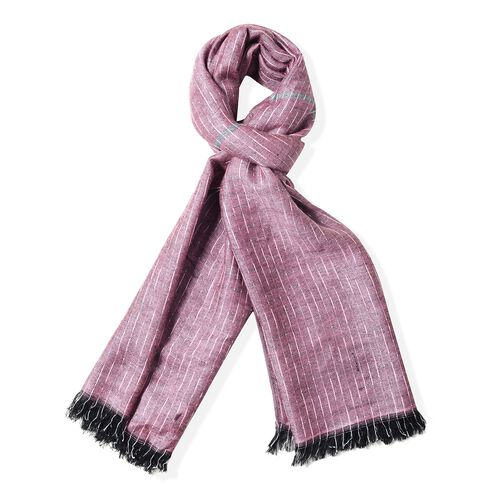 Dark Pink Colour Scarf with Small Chequer Pattern (Size 180x68 Cm)