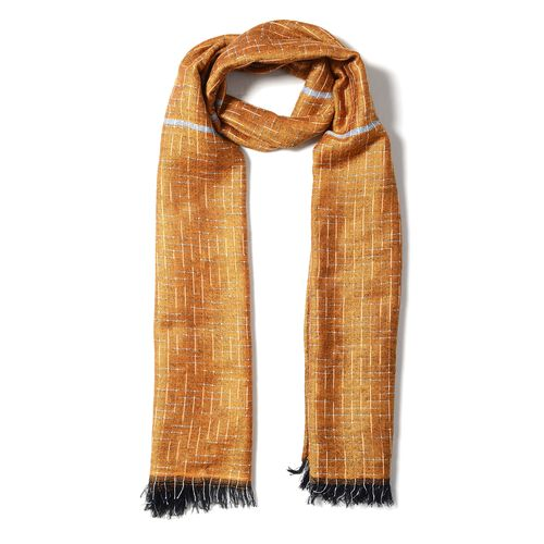 Dark Yellow Colour Scarf with Small Chequer Pattern (Size 180x68 Cm)